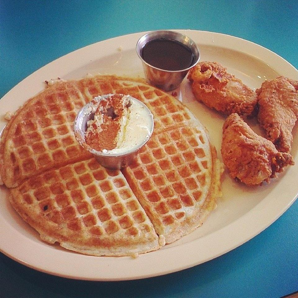 """<p><a href=""""https://www.tripadvisor.com/Restaurant_Review-g60933-d5260396-Reviews-Frank_s_Famous_Chicken_Waffle-Albuquerque_New_Mexico.html"""" rel=""""nofollow noopener"""" target=""""_blank"""" data-ylk=""""slk:Frank's Famous Chicken & Waffles"""" class=""""link rapid-noclick-resp"""">Frank's Famous Chicken & Waffles</a>, Albuquerque</p><p>The <span class=""""entity tip_taste_match"""">chicken and waffles</span> are obviously the draw, and the other <span class=""""entity tip_taste_match"""">hidden gems</span> on the menu are what bring me back. I love this place and enthusiastically recommend it to others! - Foursquare user <a href=""""https://foursquare.com/cduke23"""" rel=""""nofollow noopener"""" target=""""_blank"""" data-ylk=""""slk:Chase"""" class=""""link rapid-noclick-resp"""">Chase</a></p>"""