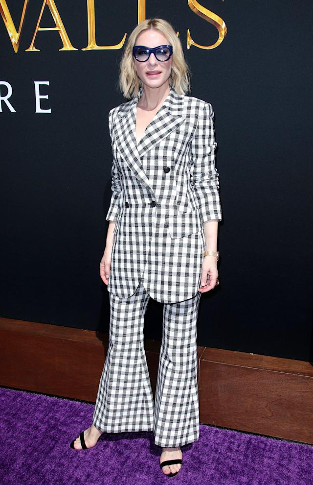 <p>Further proof Cate Blanchett's style is something to obsess over, the actress rocked a checkered suit featured a boxy blazer and flared trousers to the premiere of 'The House with a Clock in the Walls'.<br>[Photo: Rex] </p>