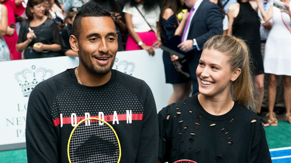 Tennis players Nick Kyrgios and Eugenie Bouchard share a laugh as they pose for a photo.