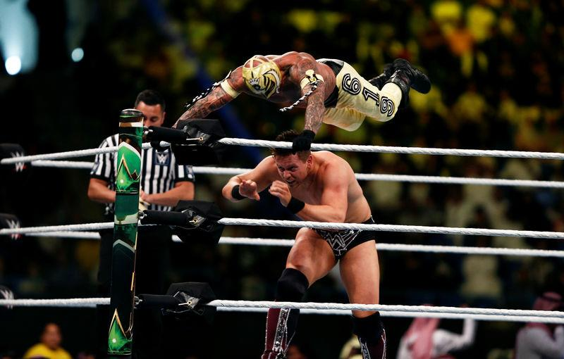 "Rey Mysterio is seen in action against The Miz during the quarter-final match of WWE ""Crown Jewel"" World Cup 2018 tournament at King Saud University stadium in Riyadh"