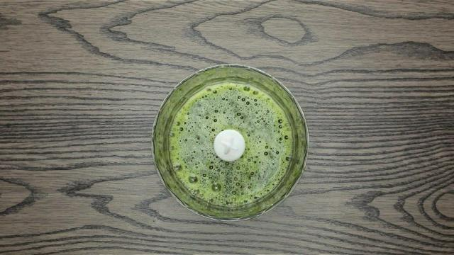 Blended pandan juice in a food processor