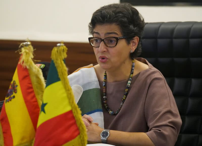 FILE PHOTO: Spanish Minister of Foreign Affairs Arancha Gonzalez Laya speaks as she attends a meeting with Senegalese Foreign Minister Aissata Tall Sall during her visit in Dakar