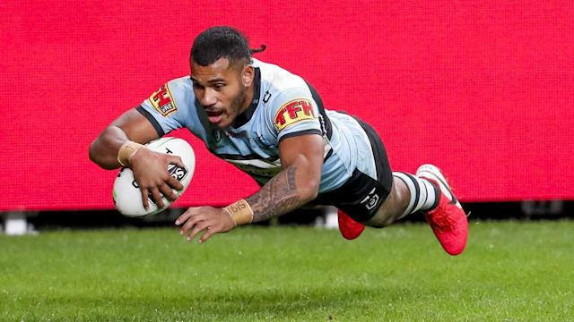Sione Katoa has scored three tries in Cronulla's 20-18 NRL defeat of Canterbury at Bankwest Stadium
