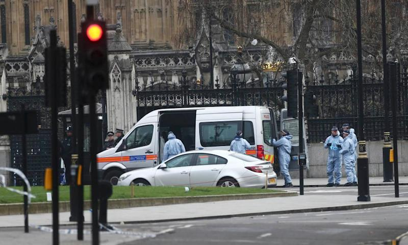 Police work at Carriage Gate outside the Houses of Parliament on Thursday.