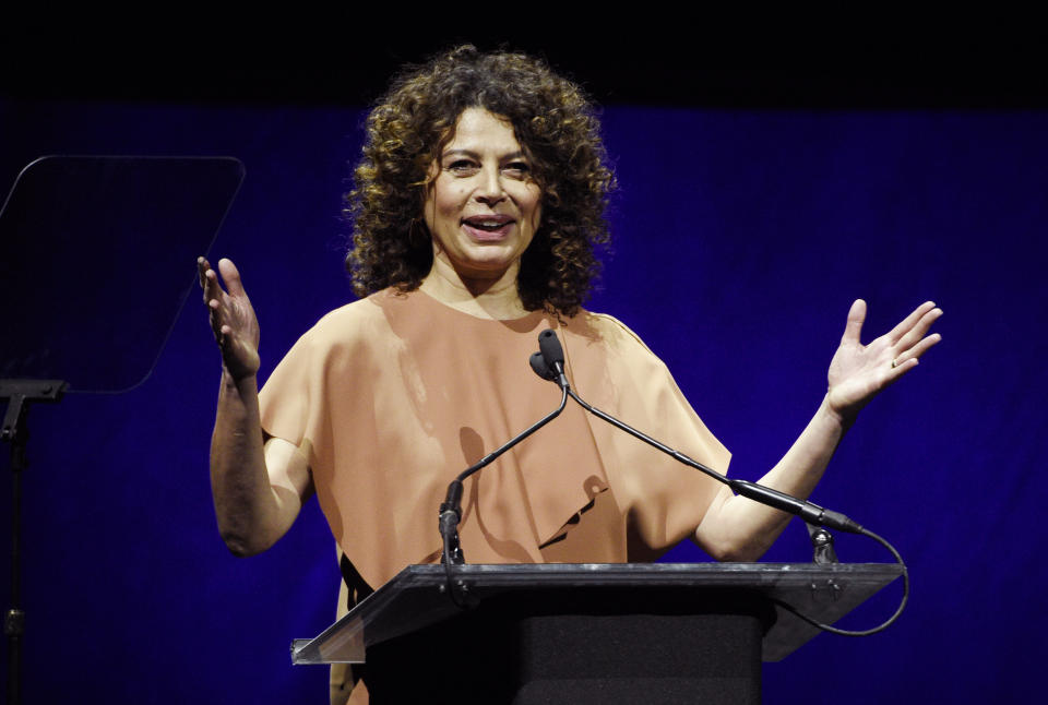 Donna Langley, chairman of Universal Filmed Entertainment Group, addresses the audience during the Universal Pictures presentation at CinemaCon 2019, the official convention of the National Association of Theatre Owners (NATO) at Caesars Palace, Wednesday, April 3, 2019, in Las Vegas. (Photo by Chris Pizzello/Invision/AP)
