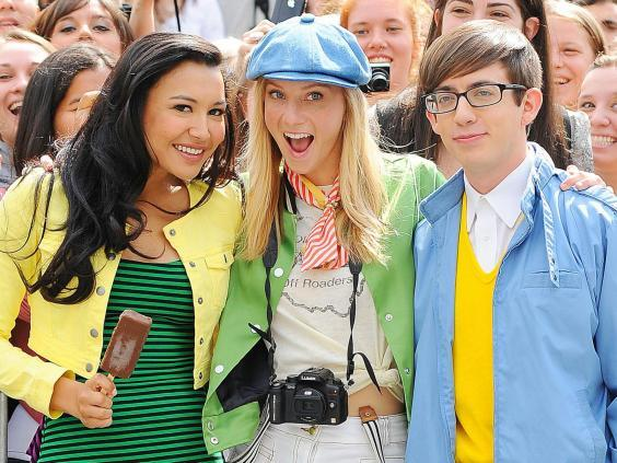 Rivera (left) with Heather Morris and Kevin McHale on set in New York (Rex)
