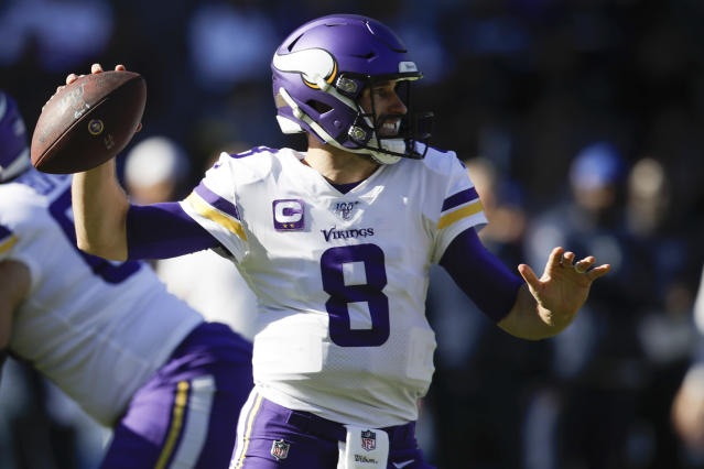 Minnesota Vikings quarterback Kirk Cousins throws a pass during the first half of an NFL football game against the Los Angeles Chargers, Sunday, Dec. 15, 2019, in Carson, Calif. (AP Photo/Marcio Jose Sanchez)