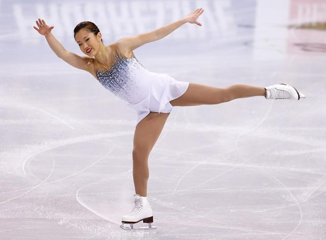 BOSTON, MA - JANUARY 09: Angela Wang skates in the short program during the 2014 Prudential U.S. Figure Skating Championships at TD Garden on January 9, 2014 in Boston, Massachusetts. (Photo by Jared Wickerham/Getty Images)