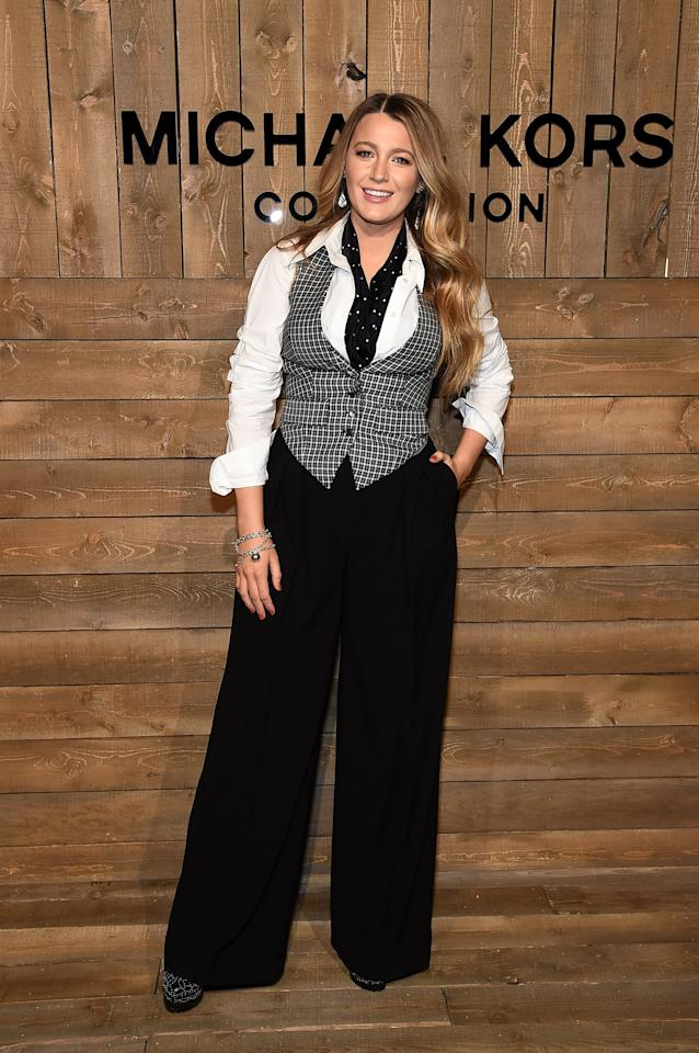 """<p><a href=""""https://www.popsugar.com/fashion/celebrities-at-fashion-week-fall-2020-47179302"""" class=""""ga-track"""" data-ga-category=""""Related"""" data-ga-label=""""https://www.popsugar.com/fashion/celebrities-at-fashion-week-fall-2020-47179302"""" data-ga-action=""""In-Line Links"""">Blake wore Michael Kors Collection to the Michael Kors show</a> at New York Fashion Week in February 2020.</p>"""