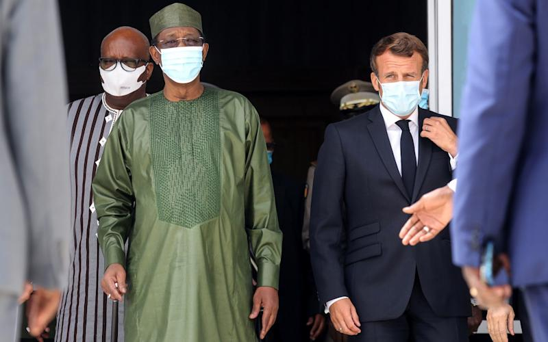 Burkina Faso President Roch Marc Christian Kabore , Chad President Idriss Deby and French President Emmanuel Macron arrive for the security summit on June 30 - Reuters