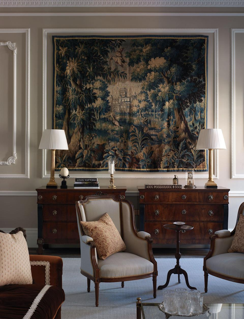 Tapestry adorns a living room in Kensington, London, designed by Albion Nord (Supplied)