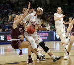 Stanford's DiJonai Carrington (21) drives against Missouri State's Danielle Gitzen (1) during the first half of a regional semifinal game in the NCAA women's college basketball tournament, Saturday, March 30, 2019, in Chicago. (AP Photo/Nam Y. Huh)