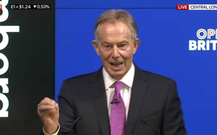 Tony Blair attacking the Government's Brexit strategy - Credit: SKY NEWS