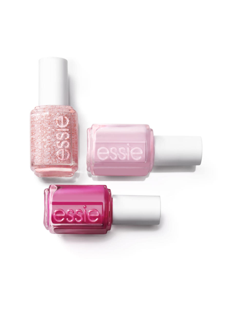 Essie's produced three polishes for the month: Pinking About You, a pale pink confetti topcoat, I Pink I Can, the perfect neutral shade for a mani/pedi, or Pink Happy, a vivacious shade the color of pink tulips.