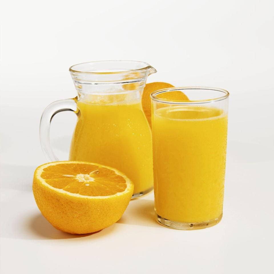 <p>One cup (or 8 ounces) of this refreshing beverage can contain up to 137 IU of vitamin D. Yet not all juices are created equal - read the product label to make sure your carton of this citrus drink is not from concentrate and is fortified with vitamin D (and most likely calcium, as well).</p>