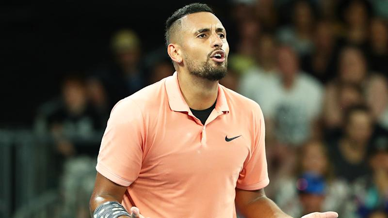 Nick Kyrgios is pictured arguing with chair umpire Renaud Lichtenstein at the Australian Open.