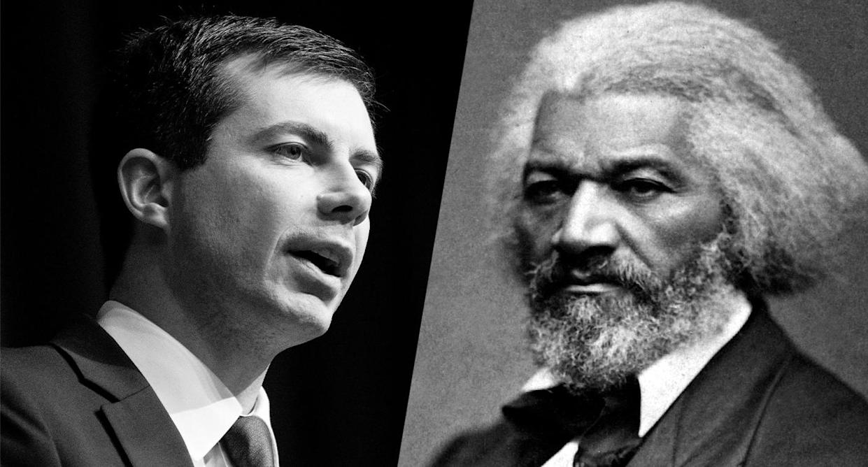 Democratic presidential candidate Pete Buttigieg and civil rights leader Frederick Douglass. (Photos: Don Emmert/AFP/Getty Images, National Archives and Records Administration)