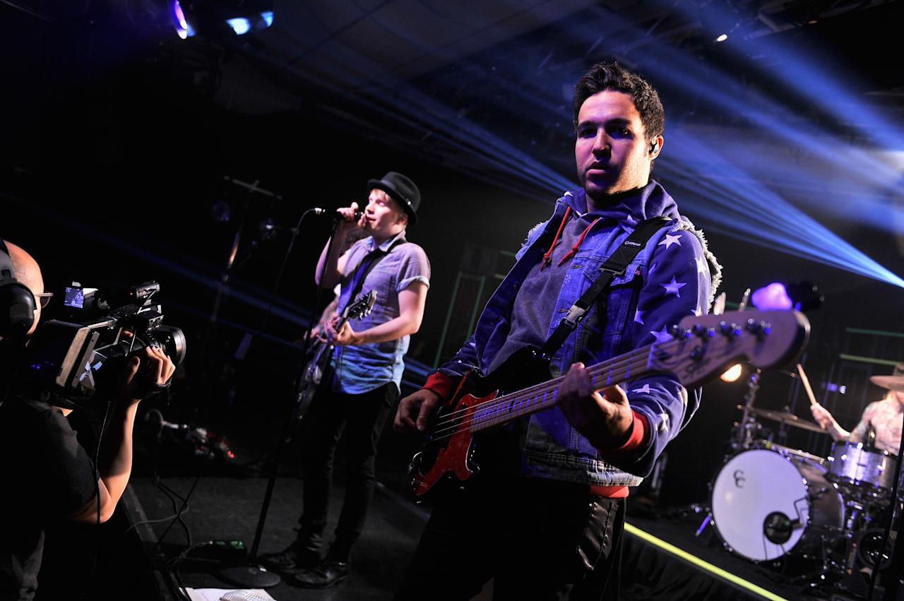 NEW YORK, NY - APRIL 12:  Vocalist/guitarist Patrick Stump, bassist Pete Wentz, guitarist Joe Trohman, and drummer Andy Hurley Fall Out Boy performs at iHeartRadio Theater on April 12, 2013 in New York City.  (Photo by Stephen Lovekin/Getty Images for iHeartRadio)