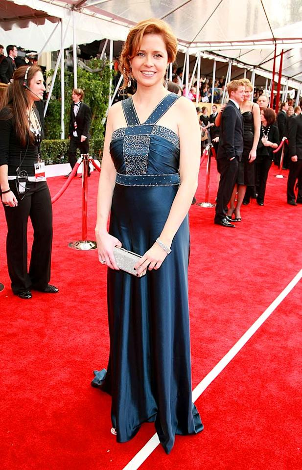 """Unfortunately, one of our faves Jenna Fischer (""""The Office"""") fails to wow in this disappointing blue gown courtesy of Collette Dinnigan. Next time the red-headed beauty should opt for something a little less matronly. Dimitrios Kambouris/<a href=""""http://www.wireimage.com"""" target=""""new"""">WireImage.com</a> - January 27, 2008"""
