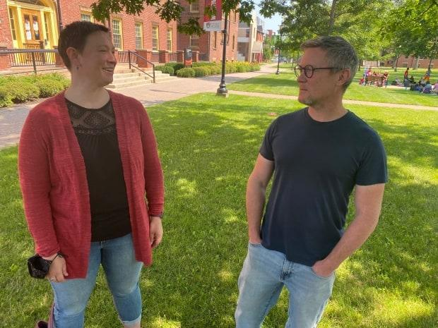 Margot Rejskind, left, and Michael Arfken are both members of the UPEI Faculty Association, which is calling for better indoor air quality on campus.  (Alex MacIsaac/CBC - image credit)