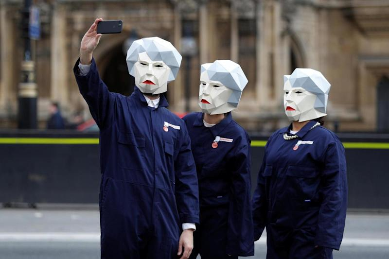 Britain's GMB union stages a protest outside Parliament. (REUTERS)