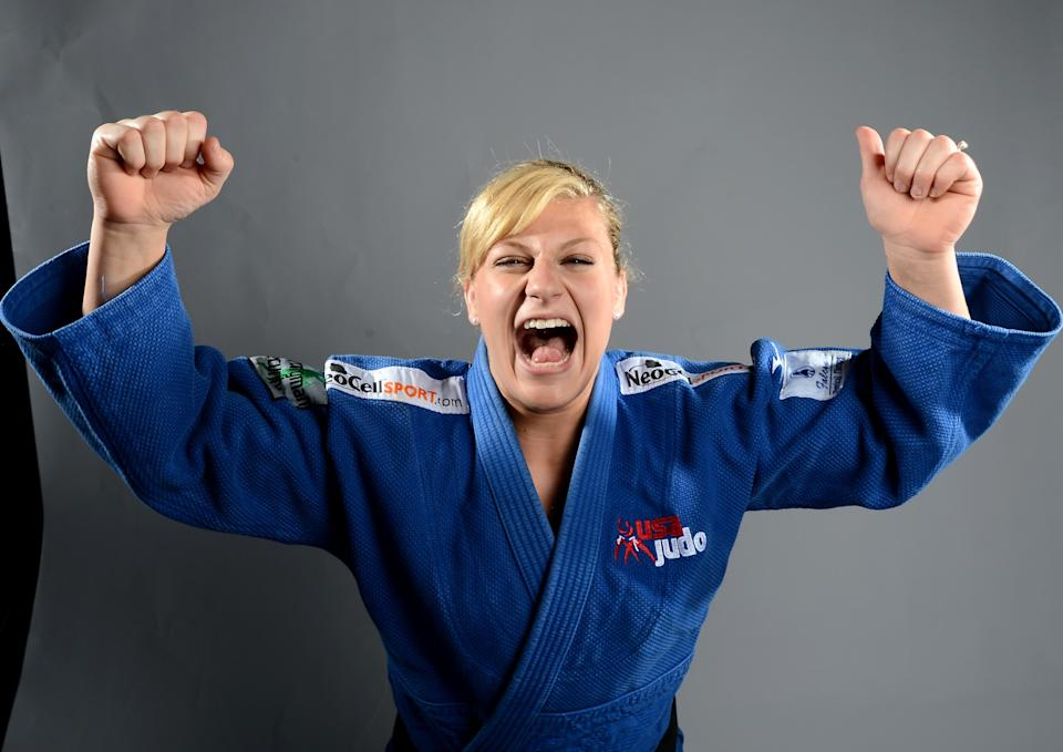 Kayla Harrison of the US Judo Olympic team poses for pictures during the 2012 Team USA Media Summit on May 13, 2012 in Dallas,Texas. JOE KLAMARJOE/AFP/GettyImages