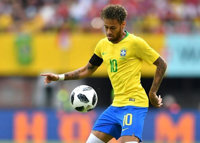 Neymar in action for Brazil against Austria in a World Cup warm-up match