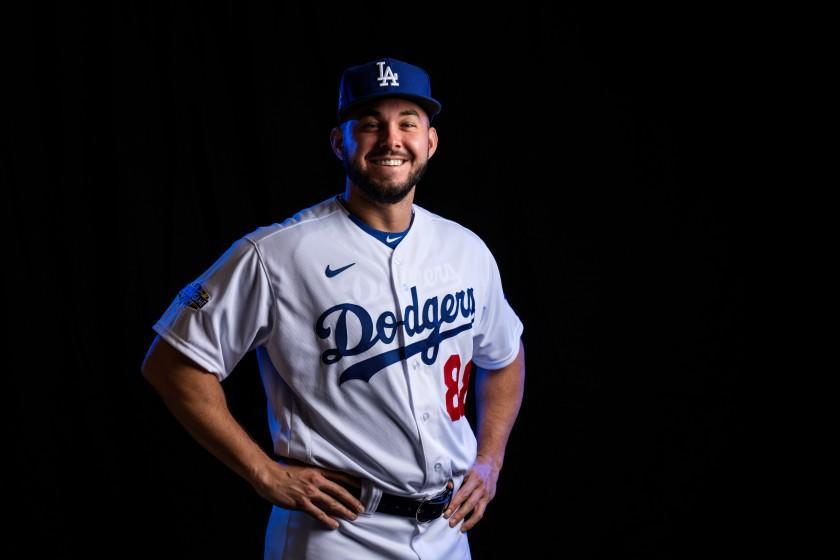 Dodgers outfield prospect Zach Reks poses for a portrait during spring training Feb. 20, 2020, in Phoenix.