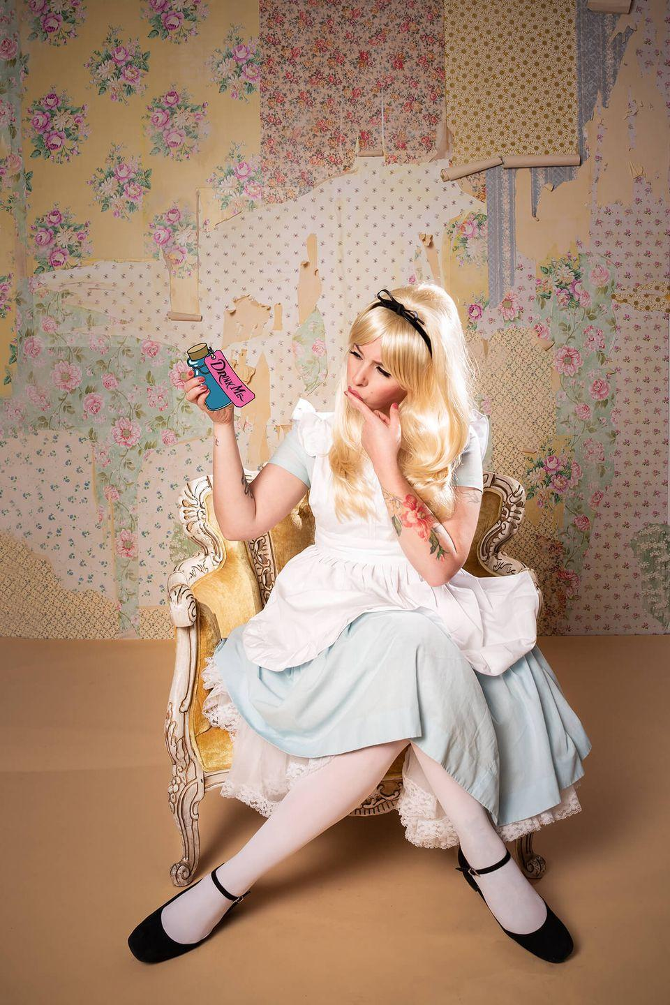 """<p>It isn't really so curiouser and curiouser how easy this costume is to DIY—start with a blue dress and add a few elements like a blonde wig and white apron and you've almost got it!</p><p><strong>Get the tutorial at <a href=""""http://keikolynn.com/2018/10/disney-alice-in-wonderland-costume/"""" rel=""""nofollow noopener"""" target=""""_blank"""" data-ylk=""""slk:Keiko Lynn"""" class=""""link rapid-noclick-resp"""">Keiko Lynn</a>.</strong></p><p><a class=""""link rapid-noclick-resp"""" href=""""https://go.redirectingat.com?id=74968X1596630&url=https%3A%2F%2Fwww.walmart.com%2Fip%2FAngelina-70D-Opaque-Tights-1-Pack%2F122071685&sref=https%3A%2F%2Fwww.countryliving.com%2Fdiy-crafts%2Fg4571%2Fdiy-halloween-costumes-for-women%2F"""" rel=""""nofollow noopener"""" target=""""_blank"""" data-ylk=""""slk:SHOP WHITE TIGHTS"""">SHOP WHITE TIGHTS</a><br></p>"""