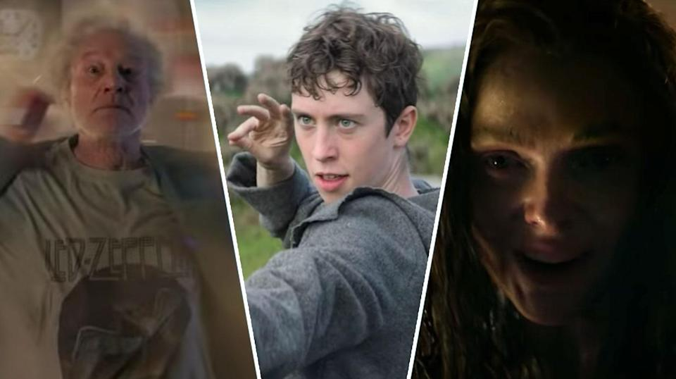 Sir Patrick Stewart, Angus Imrie, and Rebecca Ferguson in <i>The Kid Who Would Be King</i> (20th Century Fox)