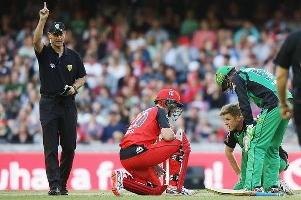 The ball hit Adam Zampa's nose and deflected onto the stumps