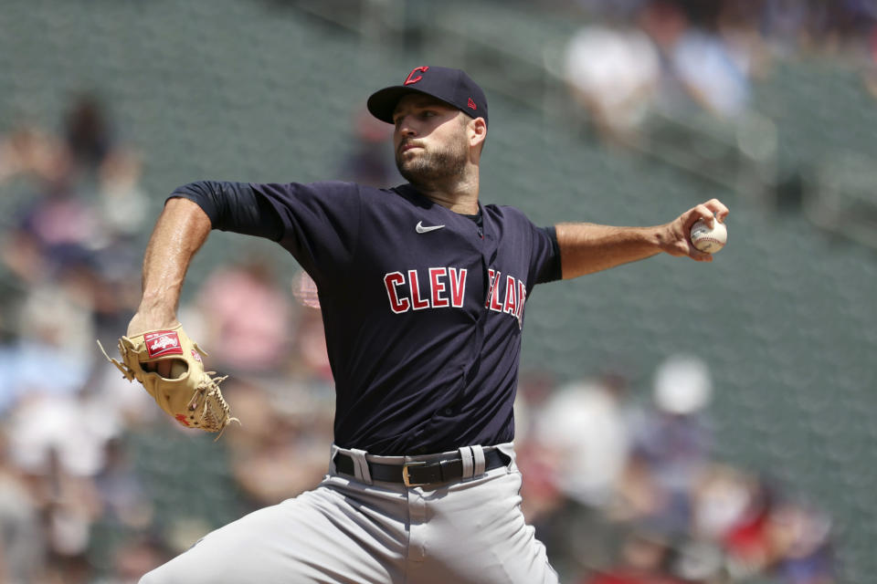 Cleveland Indians' pitcher Sam Hentges throws against the Minnesota Twins during the first inning of a baseball game, Sunday, June 27, 2021, in Minneapolis. (AP Photo/Stacy Bengs)
