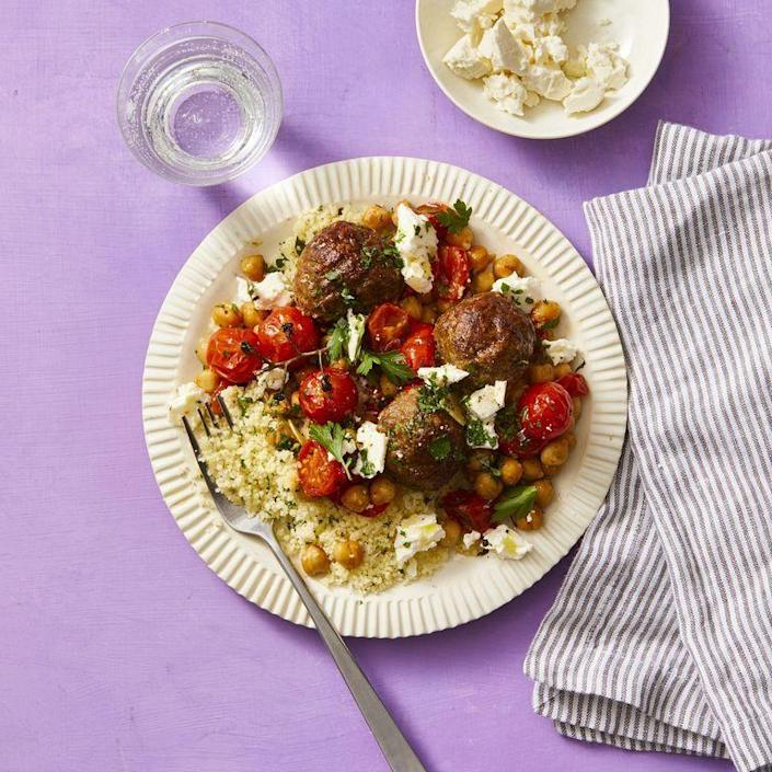 "<p>Serve these Moroccan meatballs with couscous and feta for a flavor that will take you on a journey. </p><p><em><a href=""https://www.womansday.com/food-recipes/food-drinks/a29845554/moroccan-meatballs-with-roasted-tomatoes-and-chickpeas-recipe/"" rel=""nofollow noopener"" target=""_blank"" data-ylk=""slk:Get the Moroccan Meatballs with Roasted Tomatoes and Chickpeas recipe."" class=""link rapid-noclick-resp"">Get the Moroccan Meatballs with Roasted Tomatoes and Chickpeas recipe. </a></em></p>"