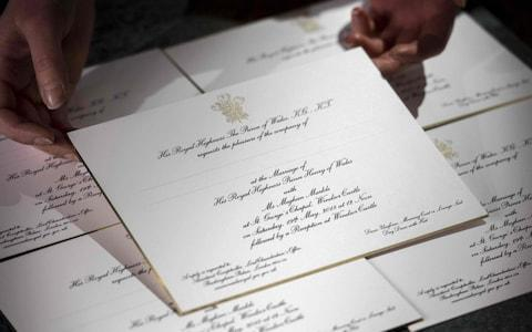 Prince Harry and Meghan Markle's wedding invitations, in a photo released March 22 - Credit: VICTORIA JONES