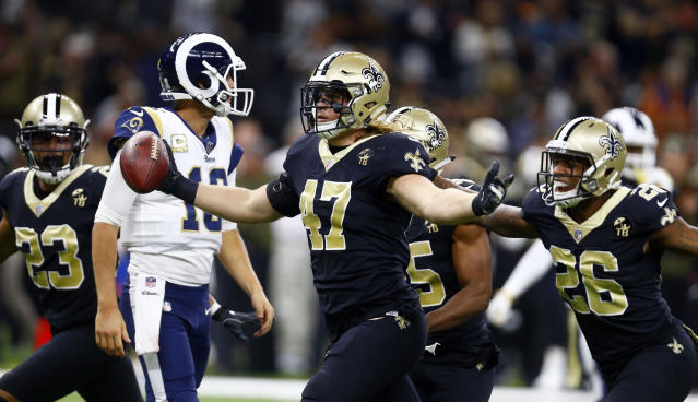 New Orleans Saints middle linebacker Alex Anzalone (47) celebrates after an interception in a win over the Rams. (AP)