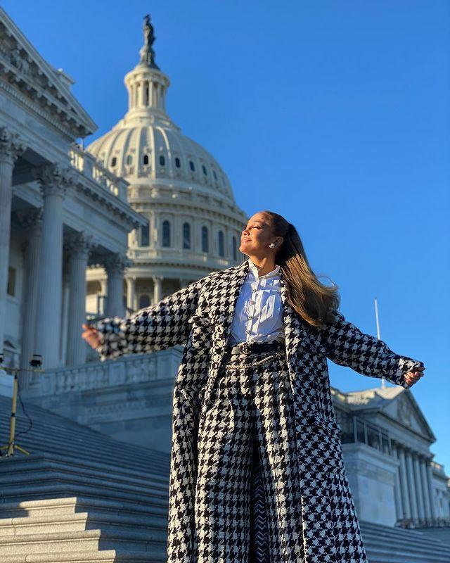 """<p>Arriving in the United States Capitol ahead of President Biden's inauguration, the 51-year-od wore a houndstooth two-piece by Chanel.</p><p><a href=""""https://www.instagram.com/p/CKRZTGcJR1h/"""" rel=""""nofollow noopener"""" target=""""_blank"""" data-ylk=""""slk:See the original post on Instagram"""" class=""""link rapid-noclick-resp"""">See the original post on Instagram</a></p>"""
