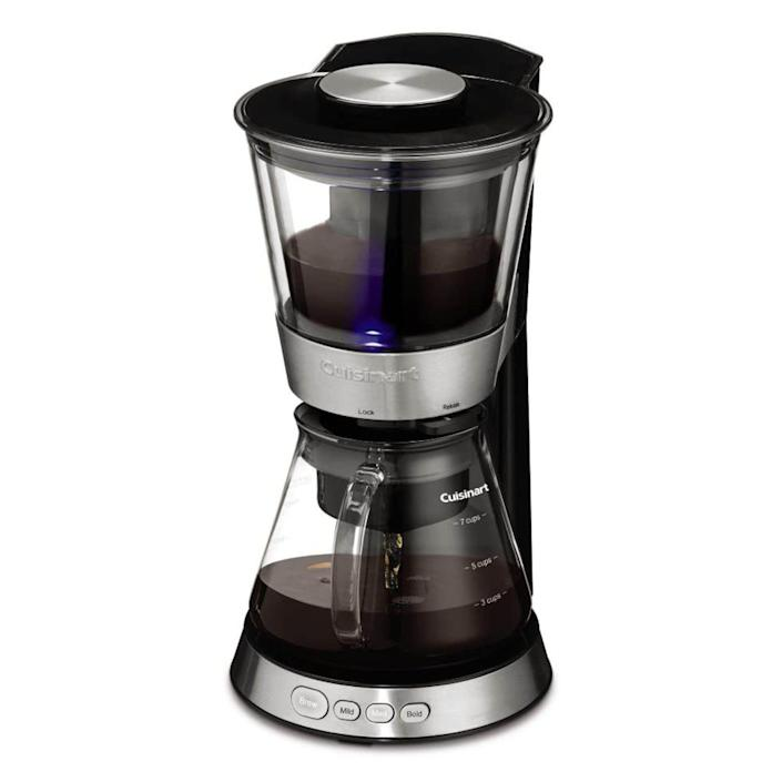 """<p><strong>Cuisinart</strong></p><p>amazon.com</p><p><strong>$79.95</strong></p><p><a href=""""https://www.amazon.com/dp/B073S5JHRV?tag=syn-yahoo-20&ascsubtag=%5Bartid%7C10060.g.36727477%5Bsrc%7Cyahoo-us"""" rel=""""nofollow noopener"""" target=""""_blank"""" data-ylk=""""slk:Shop Now"""" class=""""link rapid-noclick-resp"""">Shop Now</a></p><p>This 7-cup capacity Cuisinart Cold Brew makes coffee in as little as 25-46 minutes. The traditional cold-brew method takes 12-24 hours, but similar results can be found with this machine, which brews at a low-temperature, extracting fewer bitter flavors than classic hot-brew drip coffee. The coffee, once prepared, can be refrigerated for up to two weeks. Users love the speedy delivery, but many say that the overall quality isn't quite at the level that the longer soaking machines deliver. </p>"""