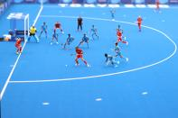 <p>TOKYO, JAPAN - JULY 27: (EDITORS NOTE: Image was created using a variable planed lens.) A general view during the Men's Preliminary Pool A match between India and Spain on day four of the Tokyo 2020 Olympic Games at Oi Hockey Stadium on July 27, 2021 in Tokyo, Japan. (Photo by Alexander Hassenstein/Getty Images)</p>
