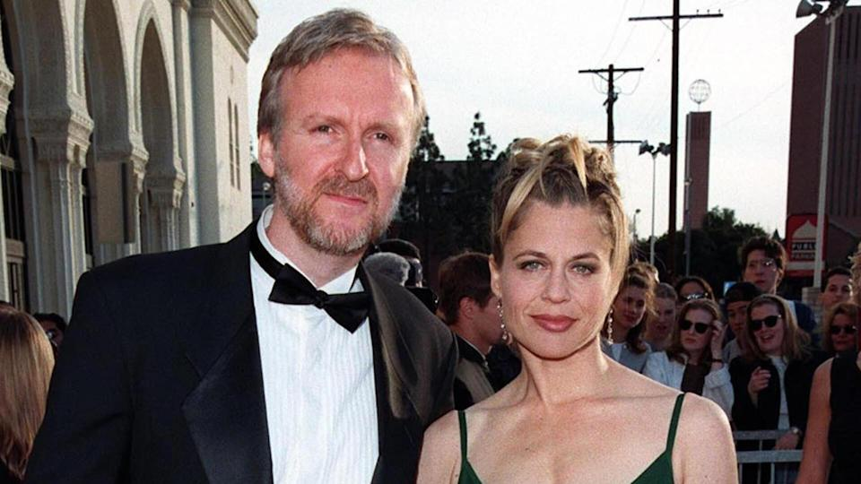 "08MAR98: ""Titanic"" director JAMES CAMERON & actress wife LINDA HAMILTON at the Screen Actors Guild Awards in Los Angeles."