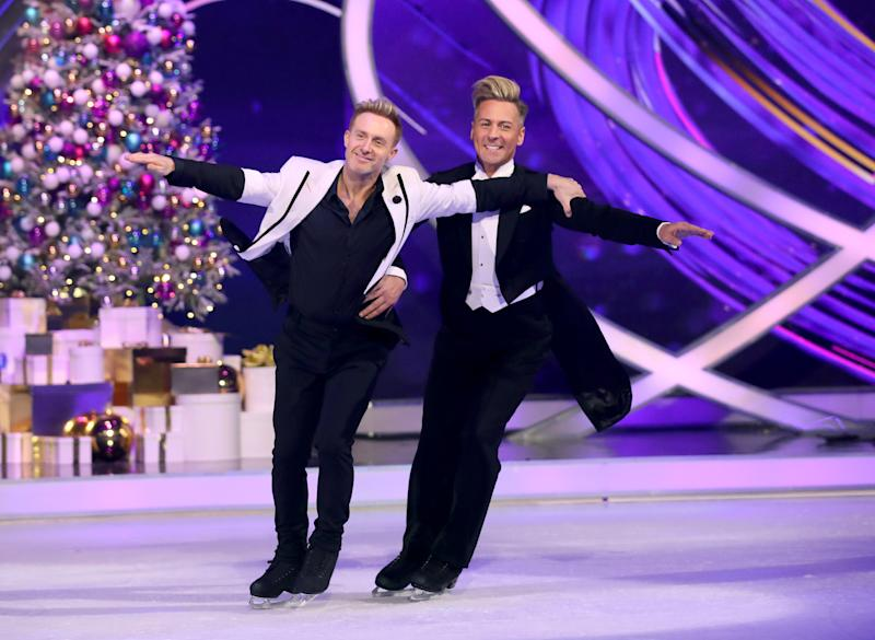 LONDON, ENGLAND - DECEMBER 09: Ian Watkins amd Matt Evers during the Dancing On Ice 2019 photocall at ITV Studios on December 09, 2019 in London, England. (Photo by Mike Marsland/WireImage)