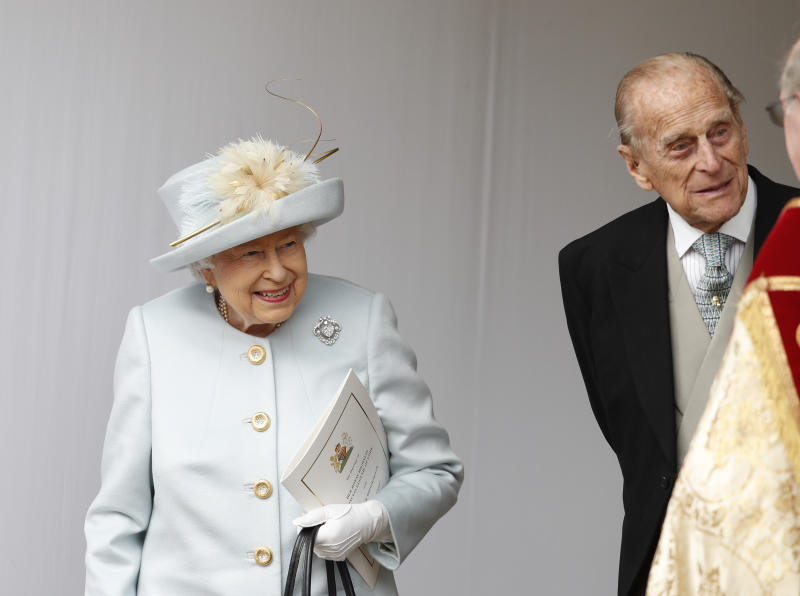 WINDSOR, ENGLAND - OCTOBER 12: Queen Elizabeth II and Prince Philip, Duke of Edinburgh look on after the wedding of Princess Eugenie of York and Mr. Jack Brooksbank at St. George's Chapel on October 12, 2018 in Windsor, England. (Photo by Alastair Grant - WPA Pool/Getty Images)