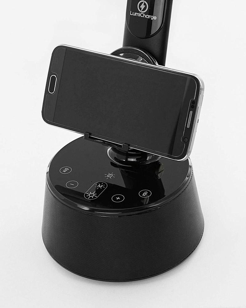 Smartphones can comfortably rest on the T2W's wireless charging dock.