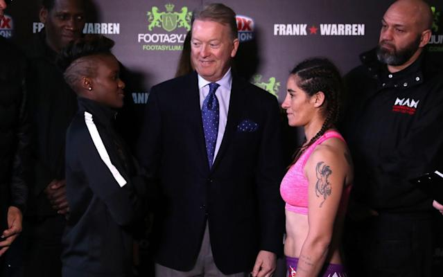 <span>Adams, promoter Frank Warren and Virginia Noemi Carcamo</span> <span>Credit: PA </span>