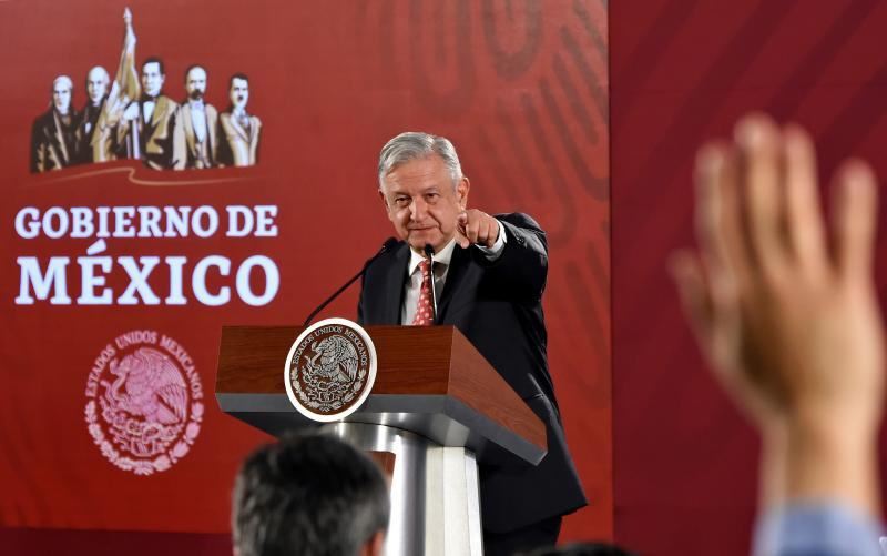Mexican President Andres Manuel Lopez Obrador offers a press conference at the National Palace in Mexico City on May 29, 2019. - President Lopez Obrador is expected to meet IMF chief Christine Lagarde later today. (Photo by Alfredo ESTRELLA / AFP) (Photo credit should read ALFREDO ESTRELLA/AFP/Getty Images)