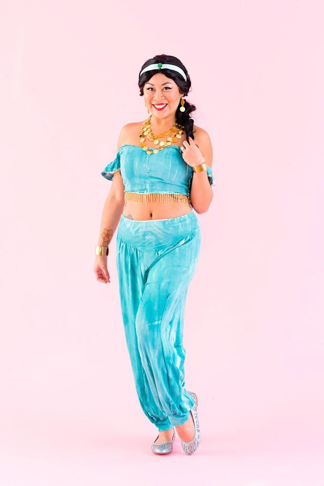 "<p>Yes, there will be plenty of magic carpet ride puns. No, that shouldn't stop you from dressing up like <em>Aladdin's </em>Jasmine <a rel=""nofollow"" href=""https://www.womansday.com/halloween/"">this Halloween</a>. <em></em><em></em></p><p><strong>Get the tutorial at <a rel=""nofollow"" href=""https://www.brit.co/disney-princess-group-halloween-costume/"">Brit + Co</a>.</strong></p>"