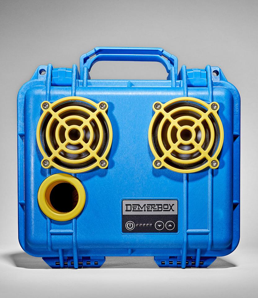 """Built into a durable pelican case, this waterproof outdoor speaker delivers storage and professional-grade sound quality in an ultraportable design. <a href=""""https://demerbox.com/collections/speakers/products/gameday-blue-yellow"""" rel=""""nofollow""""><em>Available at demerbox.com</em></a><br> <a href=""""https://www.amazon.com/Indestructible-Bluetooth-Speaker-Waterproof-Portable/dp/B076FBZ53W/ref=sr_1_3""""><strong>BUY NOW</strong>: $349</a>"""