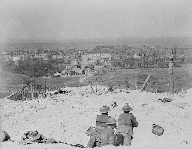 View over the crest of Vimy Ridge showing the village of Vimy , which was captured by Canadian troops. May 1917. Credit: W.I. Castle. Canada. Dept. of National Defence. Library and Archives Canada