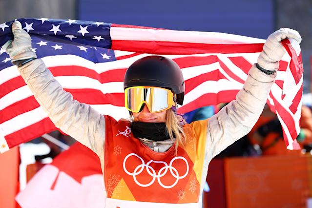 <p>Gold medalist Jamie Anderson of the United States celebrates winning the Snowboard Ladies' Slopestyle Final. </p>