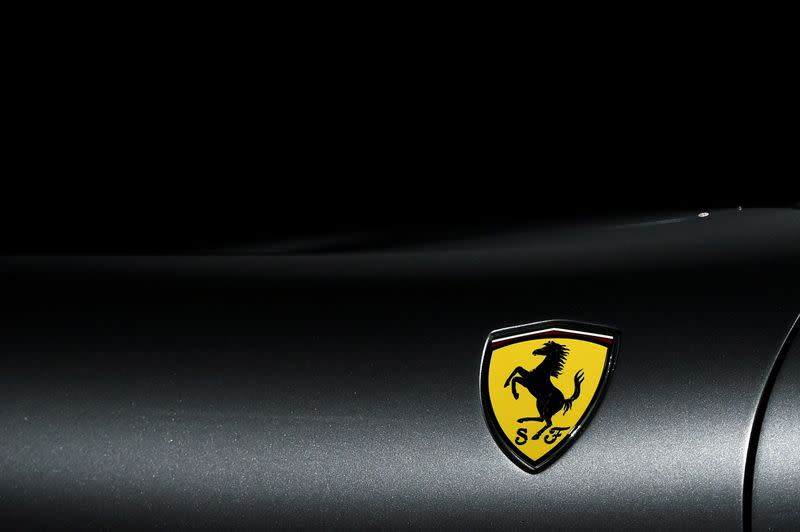 FILE PHOTO: The Ferrari logo is pictured as Ferrari Roma is unveiled during its first world presentation in Rome