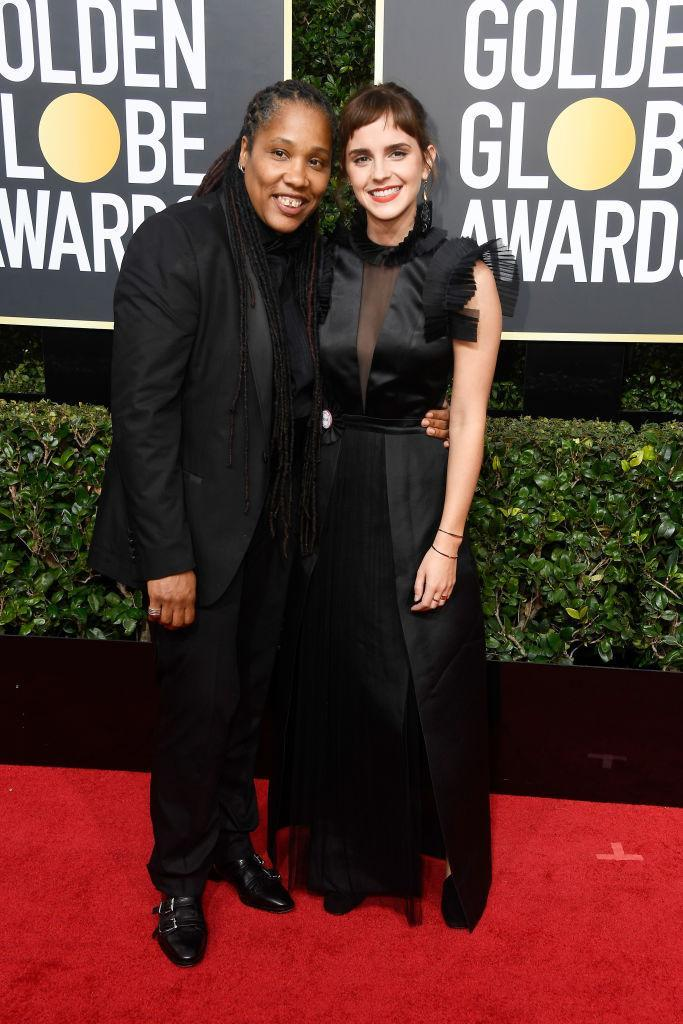 <p>Emma Watson and Marai Larasi, executive director of the black feminist organization Imkaan, attend the 75th Annual Golden Globe Awards at the Beverly Hilton Hotel in Beverly Hills, Calif., on Jan. 7, 2018. (Photo: Steve Granitz/WireImage) </p>